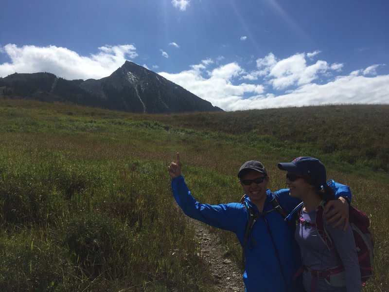 """""""Thumbs up"""" to the summit of Mt. Crested Butte."""
