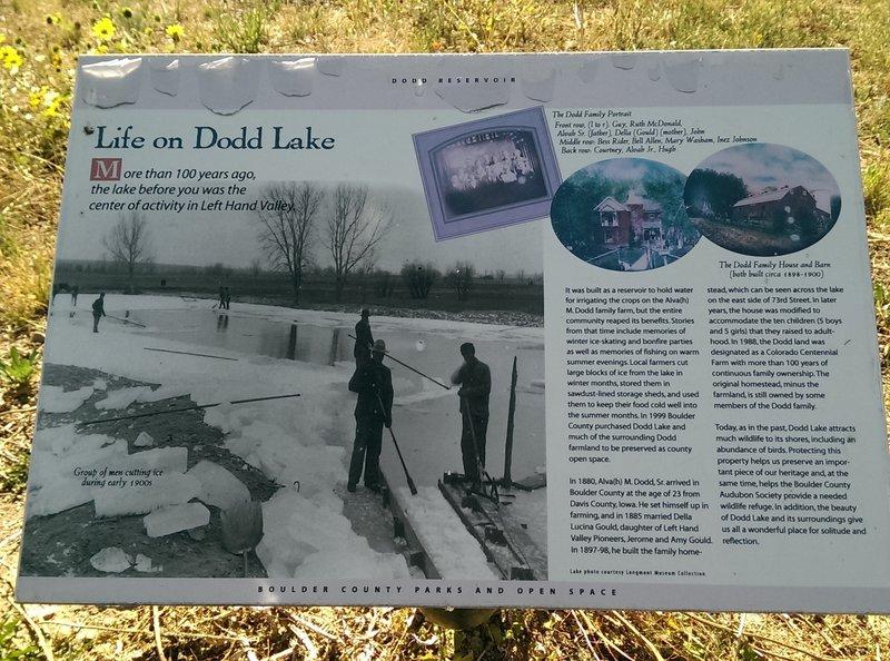 Panel describing Dodd Lake as the center of community life 100 years ago