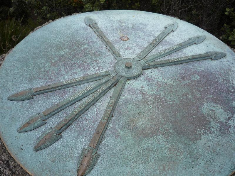 Sighting disc at the top of the Pu'u Huluhulu Cinder Cone.