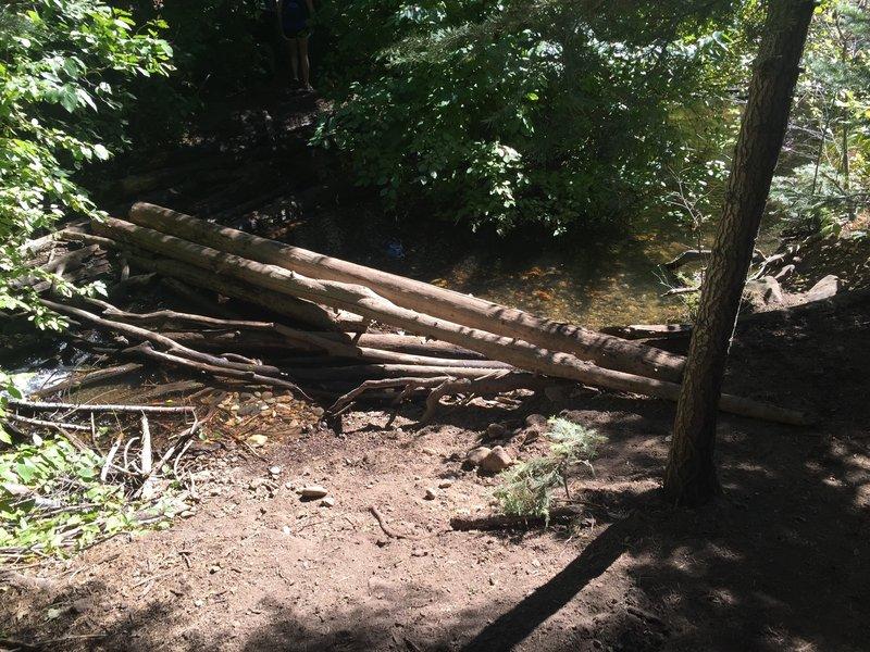 Creek crossing near the waterfall.