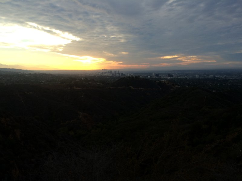 Chasing the sun rise from Rogers Road.  View of Downtown Los Angeles.