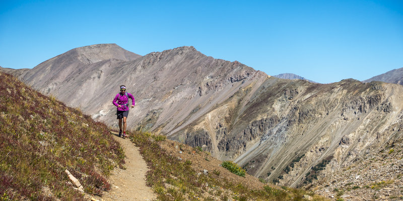 Michelle Smith turns the corner toward Grizzly Lake during a sublime late Summer outing in the alpine.