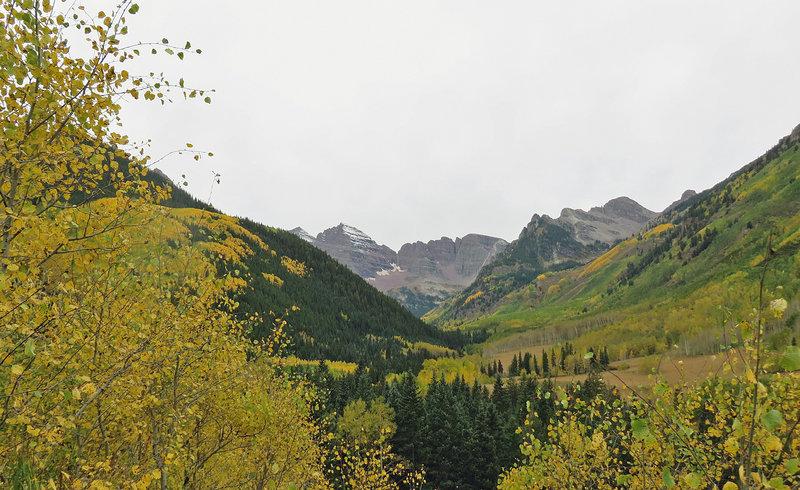 The Maroon Bells from East Maroon Creek Trail