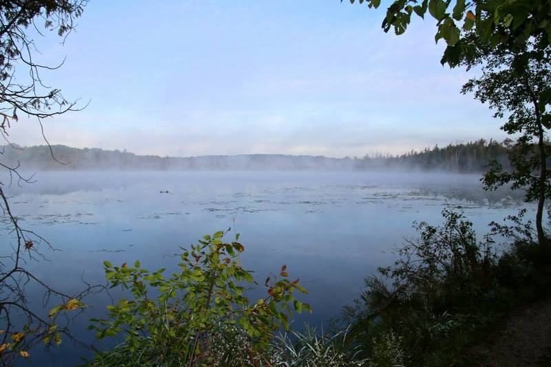 A stop (just off the Ice Age Trail) at Mauthe Lake at sunrise, with fog rising over the relatively warm waters.