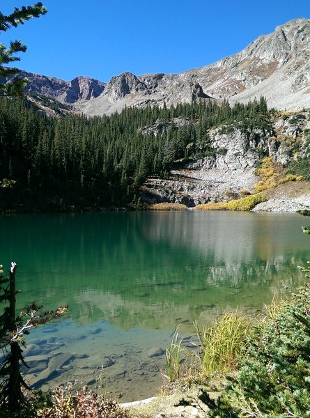American Lake shimmers invitingly after a steep climb