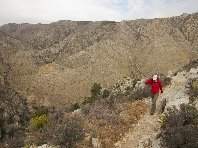 Hiker on Guadalupe Mountains National Park Guadalupe Peak Trail.