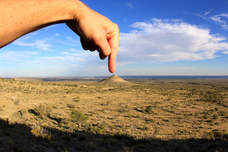 Touch the peak of cone hill!