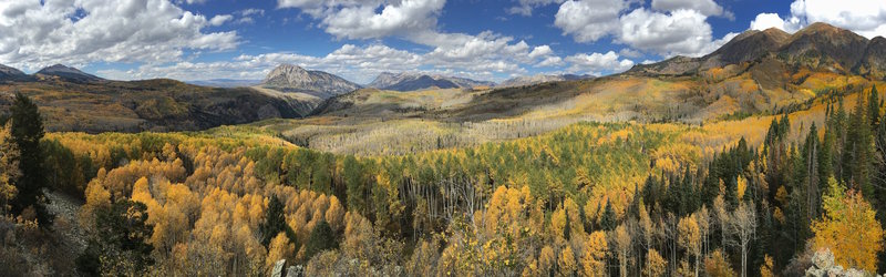 Don't miss this panoramic viewpoint right off the trail. It is an epic place to view the changing aspens in the fall.