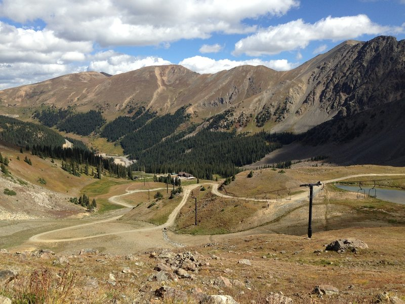Looking down over the ski area from about 3/4 of the way up the summer road.