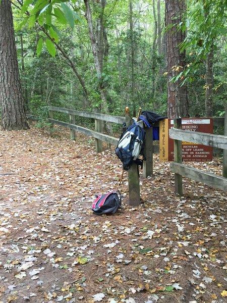 Beginning of White Hill Lake Trail, entry through turnstile