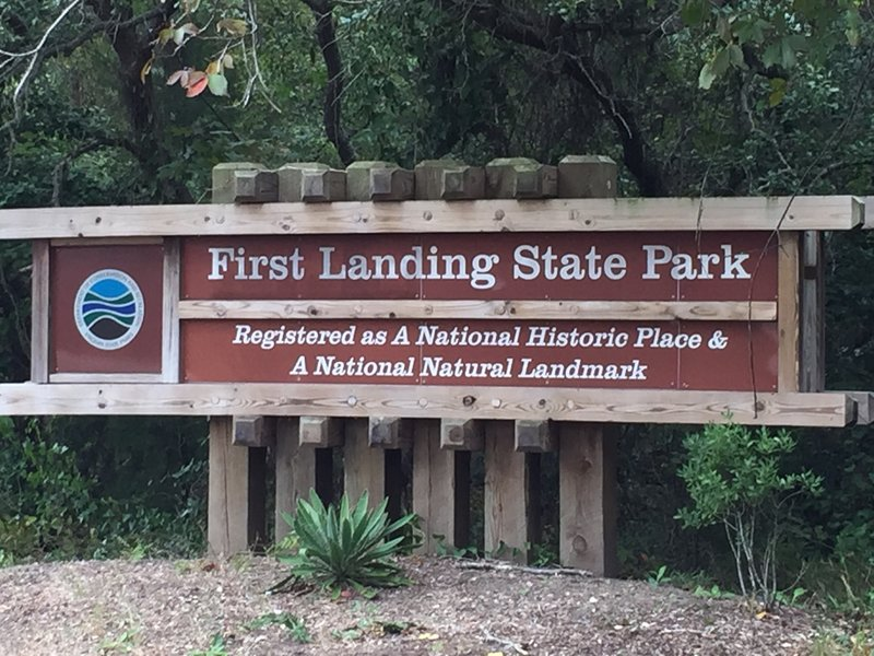 Welcome sign for First Landing State Park at western corner along Shore Drive.