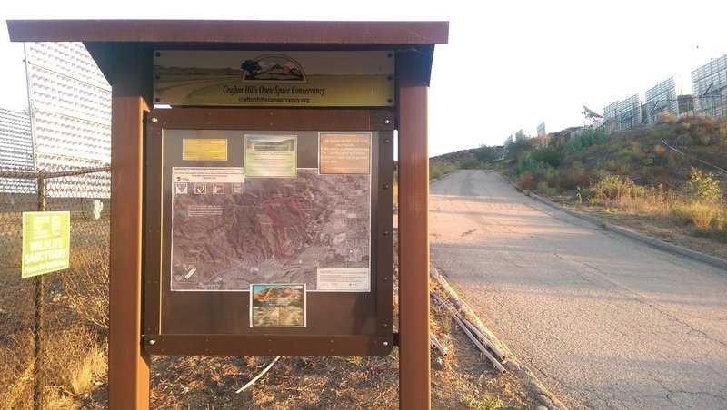 Crafton Hills Conservancy sign about 100 to 200 yards down the trail from the start.