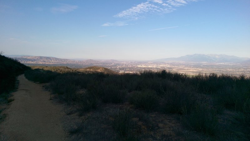 View looking west over the Inland Empire with the San Gabriel Mountains in the background