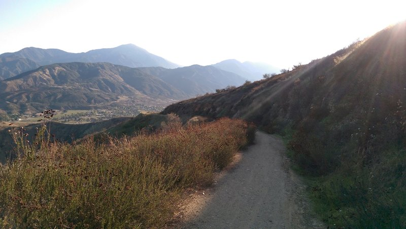 View looking north after the trail tops out towards Yucaipa Ridge and the northern end of the town of Yucaipa.