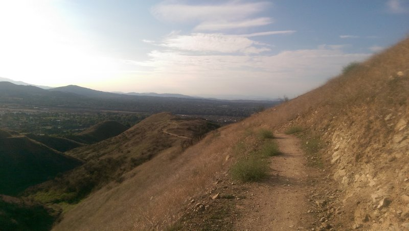 Descent down the Yucaipa Regional Park Trail.  The trail is a steeper grade than the road and it is singletrack.