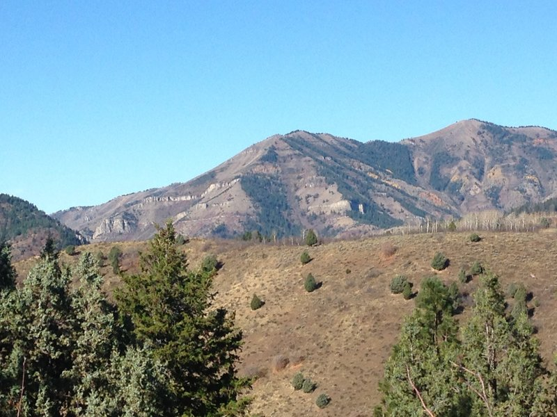 A view of Mount Beirdneau (far right) and the surrounding area in Logan Canyon.