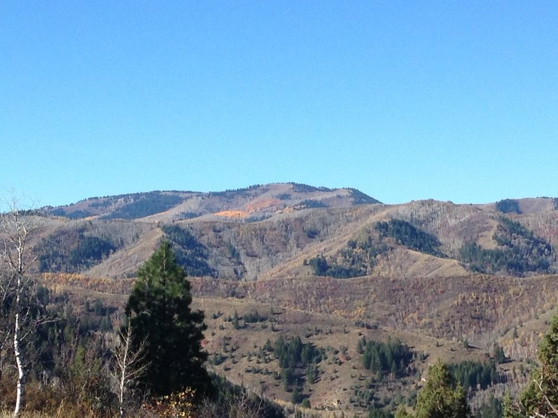 A view of the surrounding hills and some of the remaining fall colors