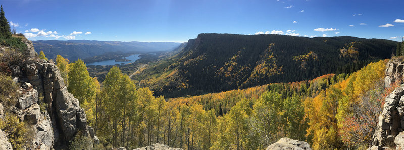 View of the aspens, the Animas River Valley, and Electra Lake looking south from the top of Castle Rock.