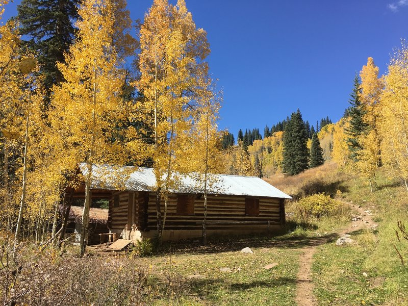 This old log cabin is the property of the San Juan National Forest. Look for the trail junction just beyond the cabin.