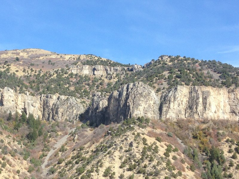 A view of the cliffs of Logan Canyon from Bridger Overlook.