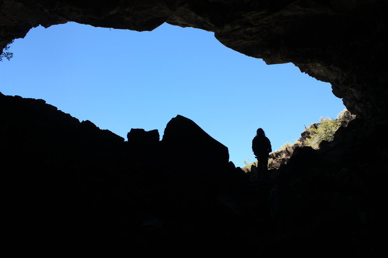 Indian Well Cave Silhouette, Lava Beds National Monument