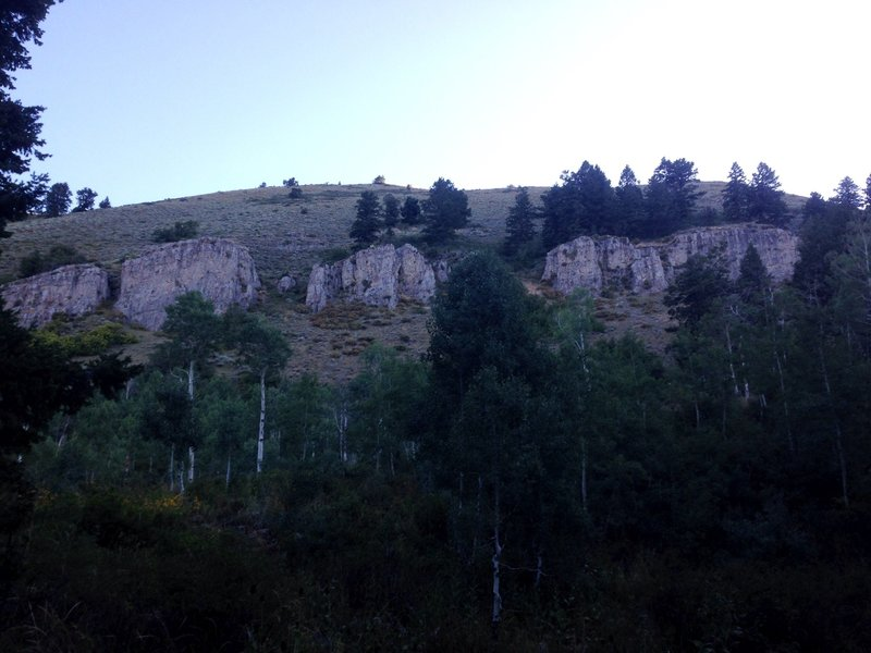 A view of some of the cliffs below Millville Peak.