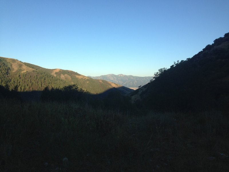 A view down Millville Canyon, as well as a view of the Wellsvilles across the valley