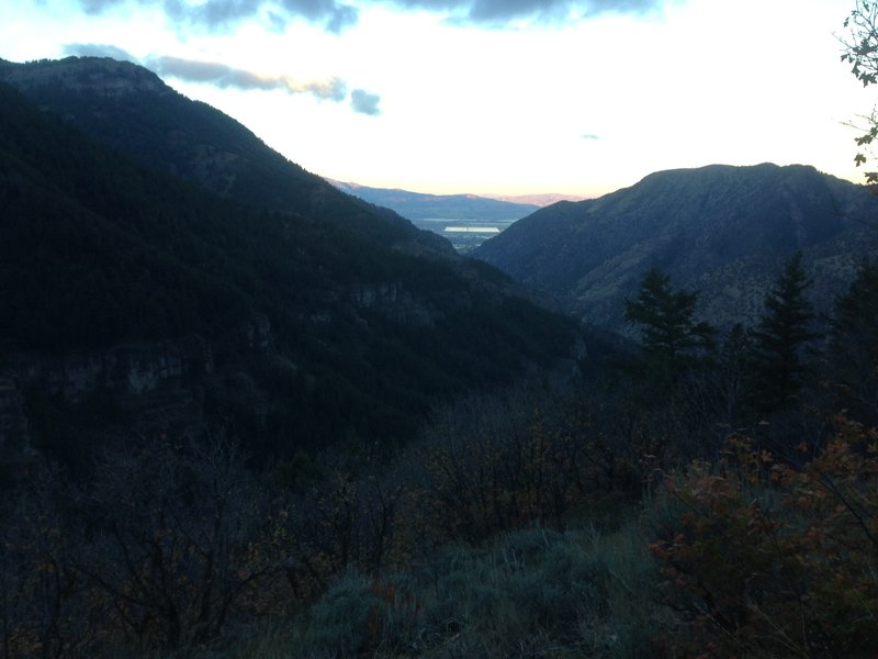 A view down Logan Canyon and into Cache Valley from the Spring Hollow viewpoint