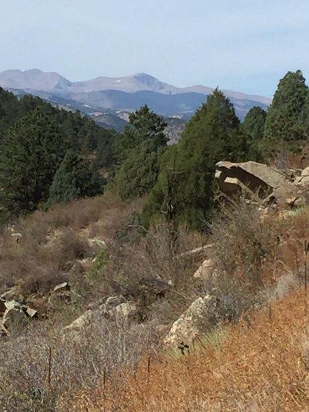 A look west to alpine peaks.