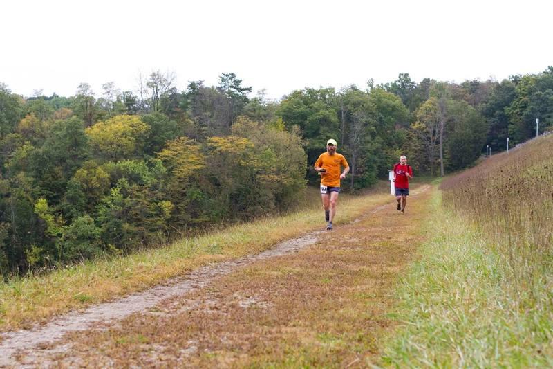 Running across the Germantown Dam during the 2015 Germantown 50K.