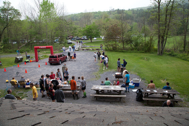 The Finish Line! Drink, eat, and share your trail run stories!