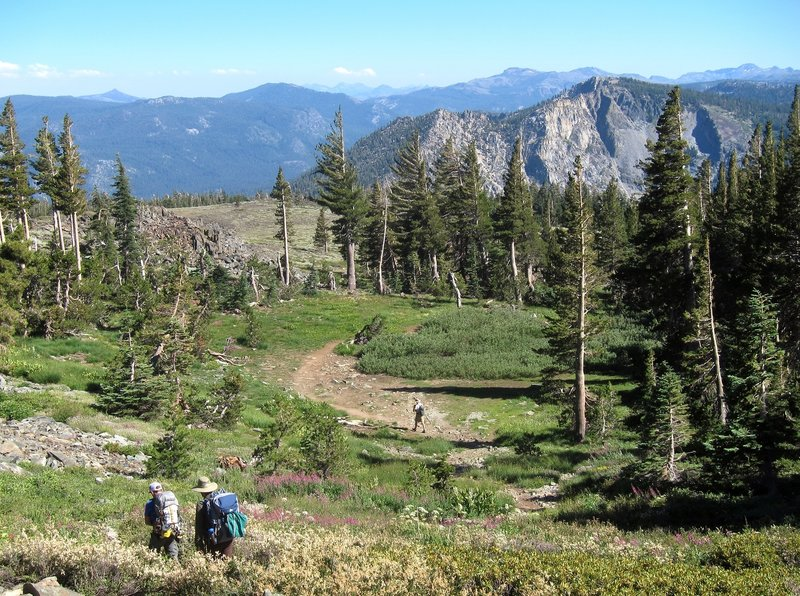 Hikers on Mt Tallac Trail