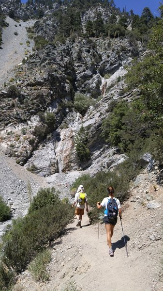 Heading over to the San Antonio Falls. Not the main event but well worth the detour from the Mt. Baldy trail!