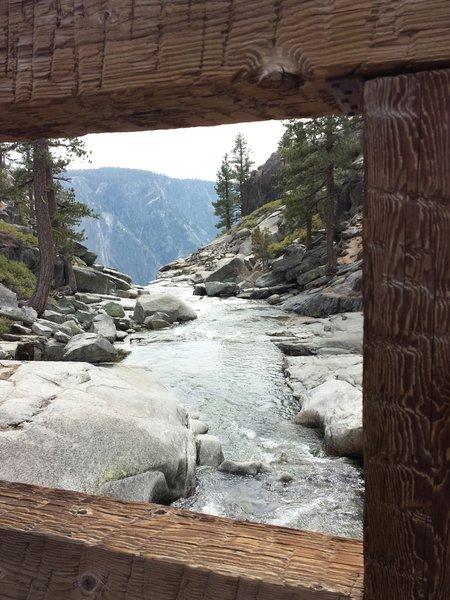 Yosemite Creek turning into Yosemite Falls from the bridge.