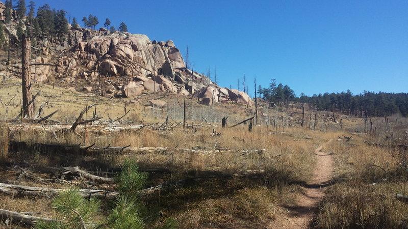 Rock outcroppings along Morrison Creek Trail.
