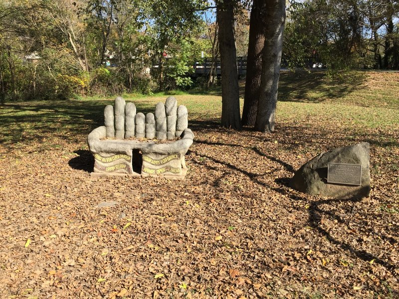Community Center Park scupture honoring Lightning Brown, a community activist and advocate for Chapel Hill greenways