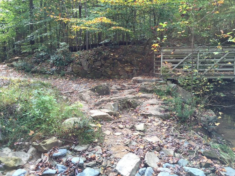 Going uphill, turn right to cross this bridge and finish Battle Branch Trail