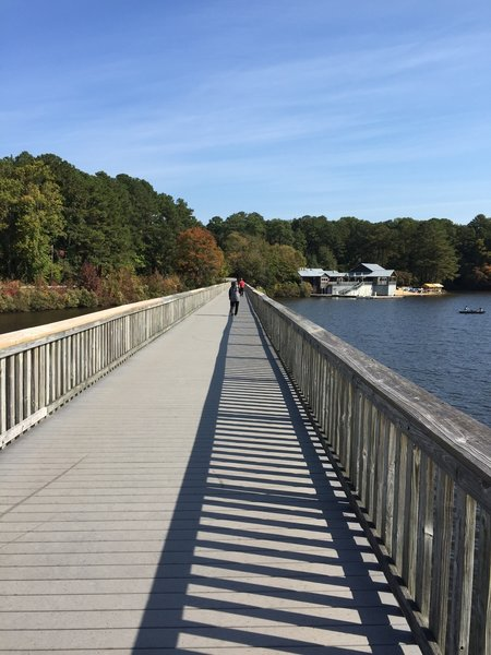 The footbridge that crosses Lake Johnson.  You are likely to encounter fishermen and other park users on this section of the route.