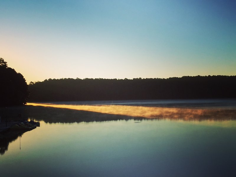 Morning light at Lake Johnson.