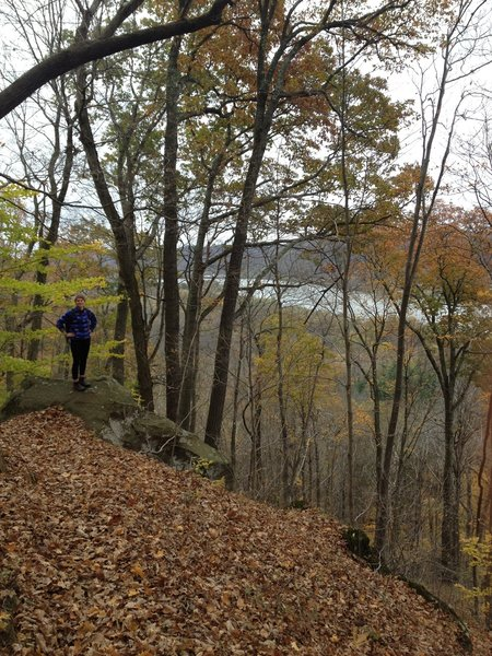 Hiking past rocks and the Ohio River on the Scenic River Trail.