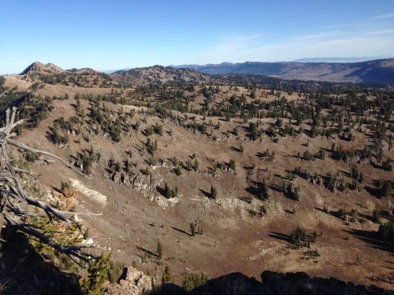 A view down into Steam Mill Canyon from Pika Peak.