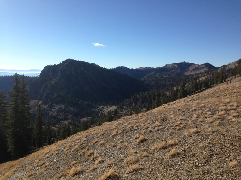 A view of Mount Gog from the trail descending down into White Pine Canyon.