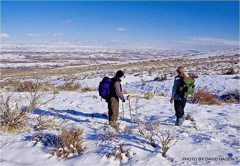 Hikers enjoying the view of the Yakima Valley in winter
