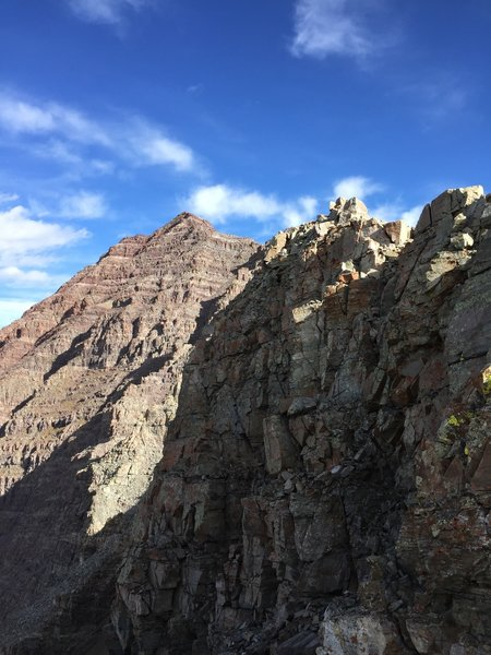 A view of the remaining route from the start of the scrambling.