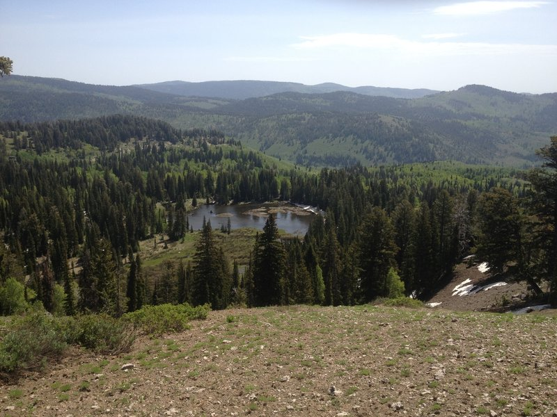 A view of Crescent Lake from above, taken on the ridge above Steep Hollow.