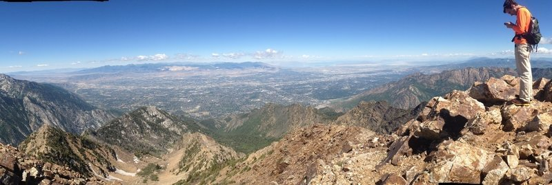 A panoramic view out into the Salt Lake Valley from Twin Peaks.