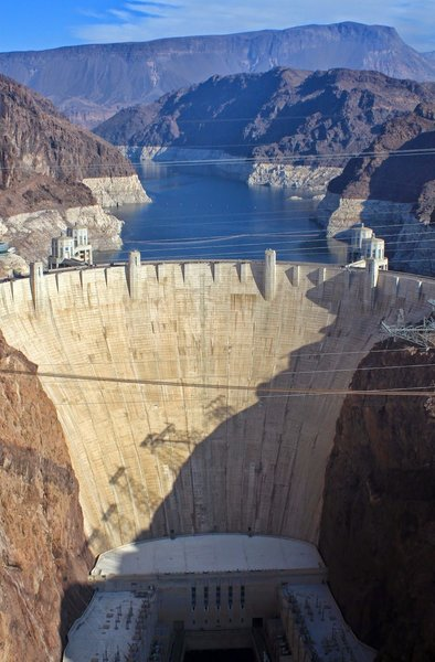 Looking at Hoover Dam from the bridge.