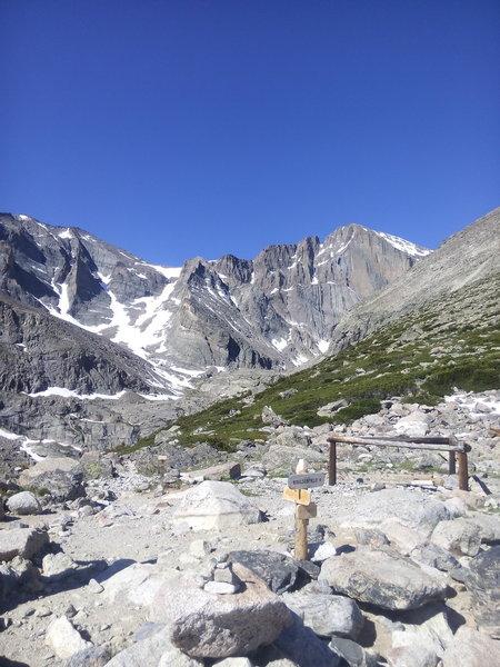 View of Longs Peak from Chasm Lake Trailhead