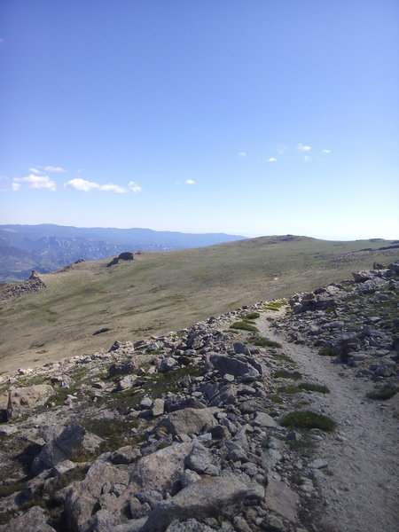 At Granite Pass looking back toward the Longs Peak trail, just below the boulder field.