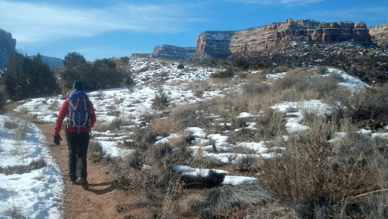 Taking the ice tools for a walk up to Devils Kitchen after checking to see if the ice was in at No Thoroughfare Canyon.